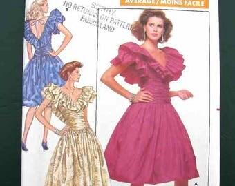 1987 Butterick Pattern #5946 Misses' Petite Dress Size 8,10,12 Uncut