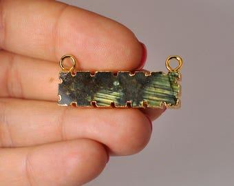 Natural Light Green Labradorite Rectangular Bar Connector Gold Plated. 27.75 Cts.  35x10x6 mm.