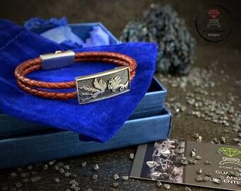 Custom Design Sirens bracelet, Mermaid bracelet,  Silver and leather bracelet, Bracelet for man