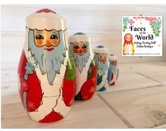 Christmas Nesting Dolls, USSR Santa Claus Russian Doll from Brest, Belarus Russia. Holiday Decor, Kitschy Christmas Decor, Good Condition!
