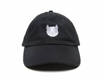 Pitbull Baseball Cap, Dad Hat Dog, Embroidered Baseball Cap, Adjustable Strap Back Baseball Cap, Low Profile, Black