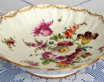 Antique DRESDEN Cabinet Plate CAKE Plate Hand Painted