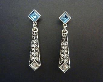 Blue Stone Earrings Art Deco Earrings Great Gatsby Vintage Earrings Art Nouveau Drop Earrings Downton Abbey Downtown Abbey Bridal Weddding
