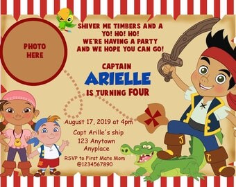 Jake and the Neverland Pirate Invitations. Pirates Invitation. Jake Invitation. Izzy Invitation. Pirates Birthday. Digital (you print)