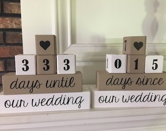 2-sided wedding countdown blocks, engagement gift, countdown to wedding, bride's gift, days until wedding, wedding, countdown blockshandmade