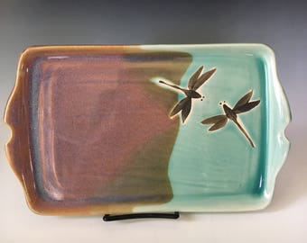 Pottery Serving Platter, Handmade Pottery Tray, Dragonfly Stoneware Tray, Appetizer Tray, Wedding Gift.