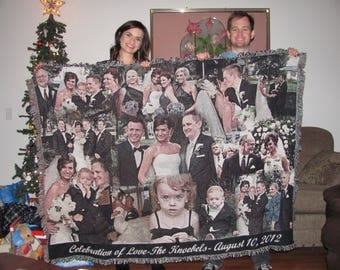 """50""""x60"""" Wedding Photo Gift Blanket, Collage Blanket, Blankets, Blanket, Anniversary Blanket,  Blanket Throw, Personalized Anniversary Gift"""