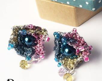 hand-knitting flower earrings