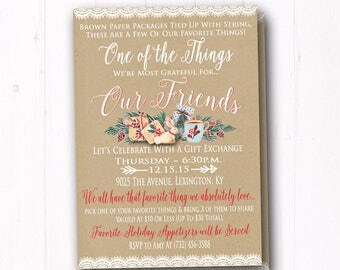 Favorite things invite rustic christmas gift exchange favorite things invitation ladies christmas gift exchange invite country christmas brown paper holiday stopboris Image collections