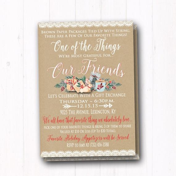 Favorite things invitation ladies christmas gift exchange like this item stopboris Image collections