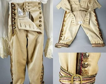 18th Century Breeches, Men's Costume, Rococo, Men's breeches, 18th Century Closing.