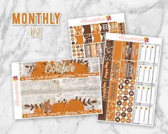 October Hello Fall Monthly Overview Planner Sticker kit for Erin Condren Life Planners