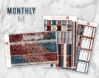 November Glitter Monthly Overview Planner Sticker kit for Erin Condren Life Planners