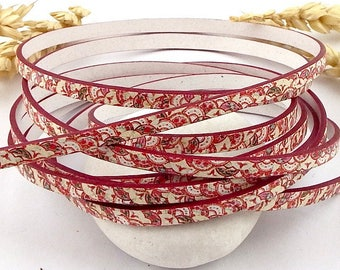 Silver 5mm flat leather print orient red and ivory