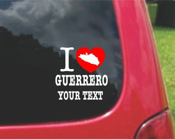 2 Pieces I Love Guanajuato Mexico Stickers Decals 20 Colors To Choose From.  Free U.S.A Free Shipping