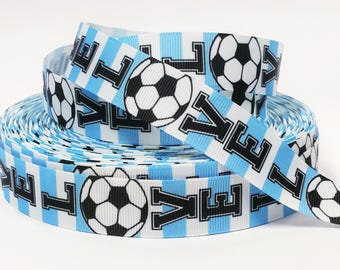 "7/8"" inch LOVE SOCCER Light Blue White Argentina Colors Sports Printed Grosgrain Ribbon for Hair Bow - Original Design"