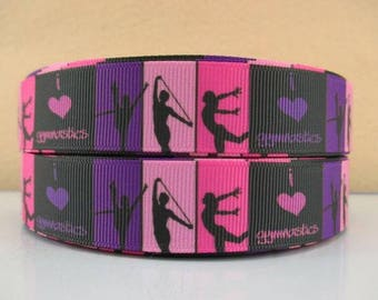 7/8 inch Gymnastics - Purple, Pink, Hot Pink Blocks - 494251 - Printed Grosgrain Ribbon for Hair Bow - Original Design