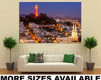 Wall Art Giclee Canvas Picture Print Gallery Wrap Ready to Hang Coit Tower and St. Peter and Paul Church 60x40 48x32 36x24 24x16 18x12 3.2