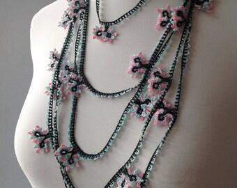 Christmas Gift, Beadwork Necklace, Crochet Lariat Necklace, Strand Necklace, Crochet Flower Necklace, Lariat Necklace, Flower Necklace,