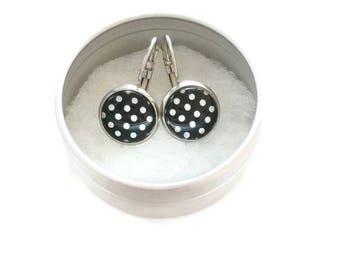 Clips polka-dot - stem black stainless steel - glass 12 mm - earring white rose - - hypoallergenic