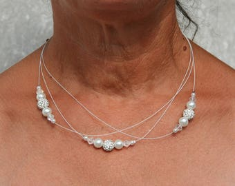 White bridal necklace with Rhinestones