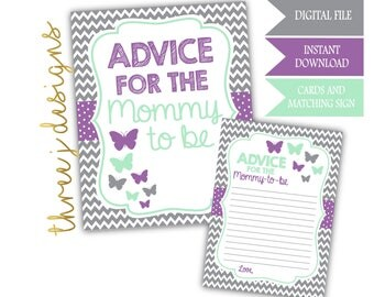 Butterfly Baby Shower Advice for the Mommy To Be Cards and Sign - INSTANT DOWNLOAD - Gray, Lavender and Mint - Digital File - J005