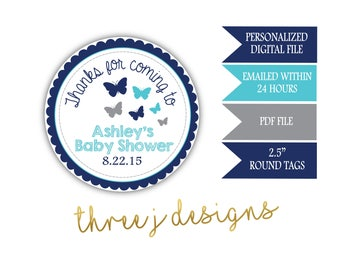 Butterfly Baby Shower Personalized Thank You Favor Tags - Navy Blue, Teal and Gray - Digital File - J007