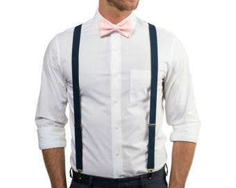 Blush Bow Tie & Navy Suspenders with Blush Pocket Square -- Ring Bearer Outfit --  Groomsmen Bow Tie Suspenders Pocket Square