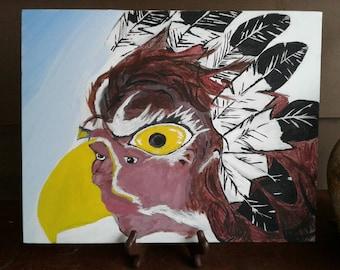 Eagle Woman.  Native American Art.  Native Painting.