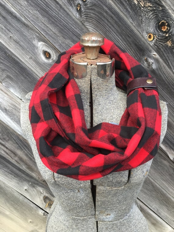 Red and black  plaid flannel eternity scarf with a brown leather cuff - soft, trendy
