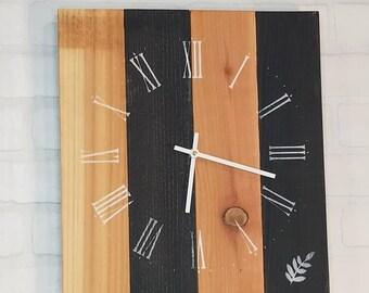 Rectangular Wall Clock - Natural & Black