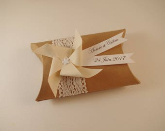 Box dragees wedding kraft lace + beige windmill - thank you gift guests birthday, christening, wedding