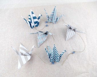 Garland 6 origami cranes in graphic pattern - geometric - blue, gray - wall decor for living room or child's room or baby boy