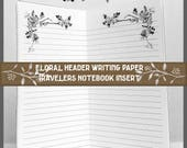 Midori Traveler's Notebook Insert: Lined With Floral Frame Header Art, 64 Pages, 9 Traveler's Notebook Sizes and Various Cover Color Choices