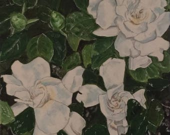 "Gardenias is 12""x12"" original acrylic painting on wrapped canvas."