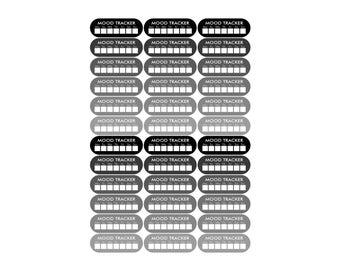 36 neutral mood tracker stickers, mood stickers, planner stickers, happy face sticker eclp filofax happy planner kikkik