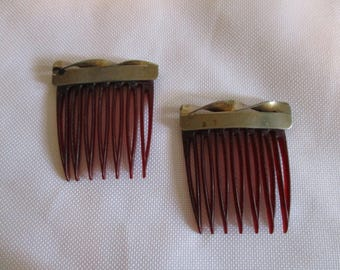 Pair of small Vintage hair combs- silver accent