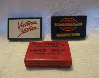 Collectible Tobacciana Match Boxes- Victoria Station Thunderbird Restaurant and lounge