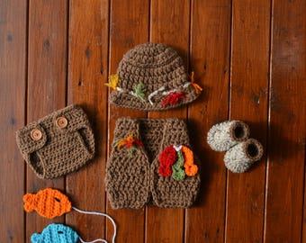 Baby Fisherman Outfit, Fisherman Outfit, Fisherman Outfit For Baby, Crochet Fisherman Outfit, Brown Fisherman Outfit, Baby Fishing Vest