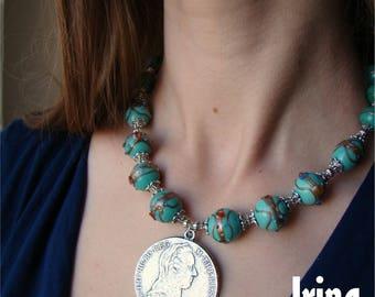 Sale Maria Theresa thaler necklace. Copy of Matia Theresa thaler coin. Venetian glass bead necklace. Folk Ukrainian style necklace to vyshyv
