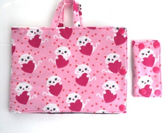 Kitten and hearts Insulated Infinity Pump Bag Cover and Port Connection Cover-Insulated Ice Pack Bag-Feeding Tube-Tubie-GTube-Jtube