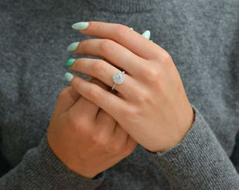1 3/4 Carat D-F VVS1 Brilliant Moissanite Diamond Engagement Ring Round Cut 14K White Gold