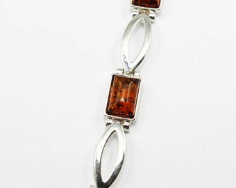 Modern simple style Baltic Amber bracelet rectangle shape amber in dark cognac color simple stylish 925 sterling silver amber stones