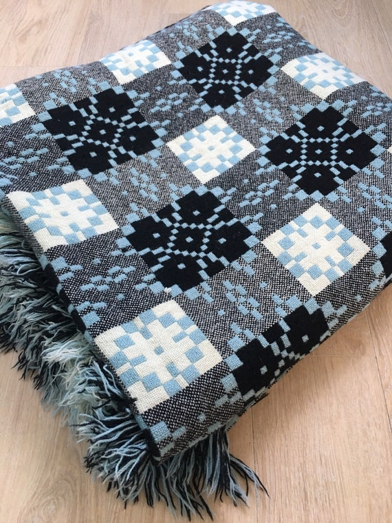 Vintage Welsh Caernarfon blue and black blanket circa 1960's