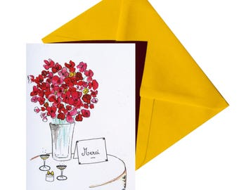 Folded thank you card yellow envelope.