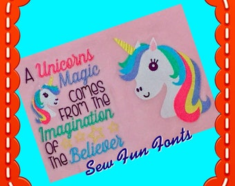 A Unicorns Magic with Unicorn Design Embroidery Saying, Reading Pillow Saying, Subway Art, Machine Embroidery Design INSTANT DOWNLOAD