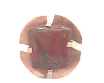 Sunset - Brass, Copper, & Red Jasper Ring