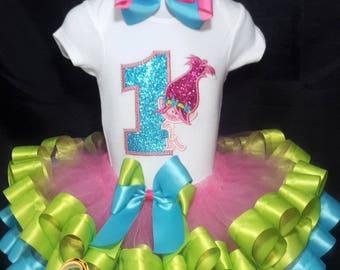 Poppy Troll Embroider Tutu Set, poppy troll tutu, poppy troll tutu outfit, poppy tutu, poppy troll birthday tutu, princess poppy