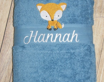 Blue Embroidered Towel, personalised towel, yellow towel, kids towel, cotton towel, wedding, birthday, new born, easter, beach, pool