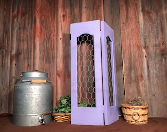 Up-cycled window shutter, home decor, vintage, unique, chicken wire, purple